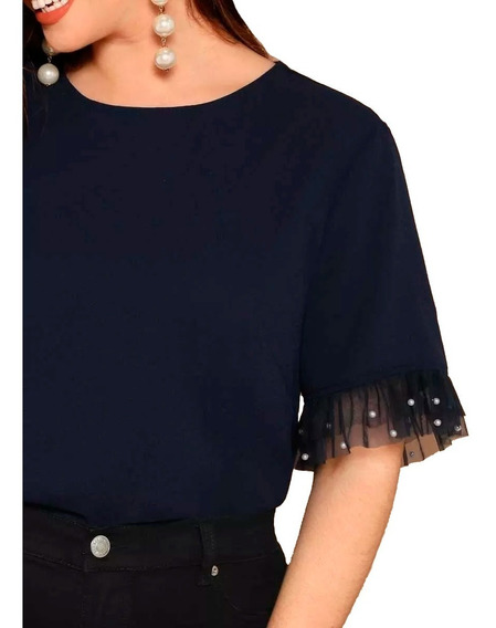 Blusa De Gasa Y Tul Azul Perlas Shein Plus Size 2x 3x