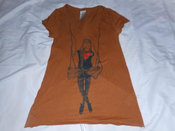 Remera Zara Trafaluc Marron C/dibujo Made In Turkey Talle S