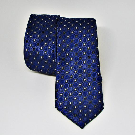 Gravata De Seda Slim Italiana Azul #1