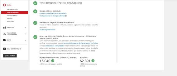 You Tube - 60k De Inscritos - Monetizado [21/10/2019]