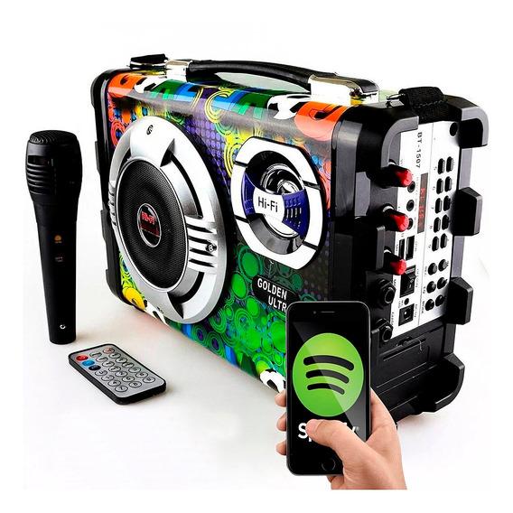 Caixa Som Amplificada Radio Bluetooth Usb Sd Fm Potente Leds