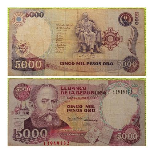Imagen 1 de 1 de Billete De 5000 Pesos.1990.