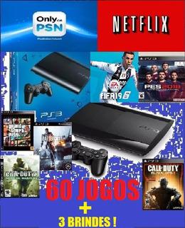 Videogame Playstation 3 Super Slim 250 Gb+60 Jogos+3 Brindes