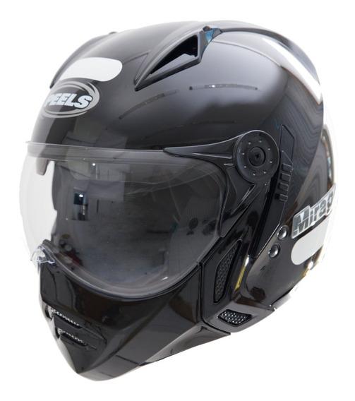Capacete Moto Peels Mirage Preto Brilho Com Óculos Interno