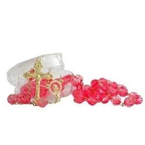 Terço Semi Cristal Rosa 8mm Luxo