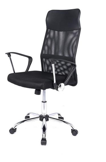 Cadeira Preta Escritório Giratória Presidente Em Tela Mesh
