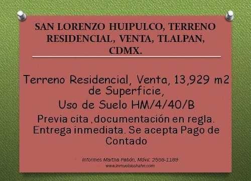 Pueblo San Lorenzo, Terreno Residencial, Venta, Tlalpan, Cdmx