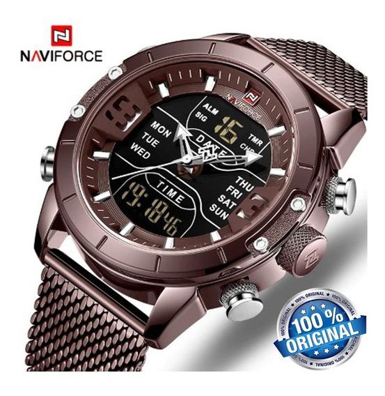 Relógio Naviforce 9153 De Luxo Analógico Digital Esporte