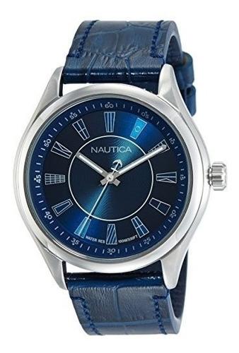 Imagen 1 de 4 de Reloj Nautica Napbst002 Pulsera En Cuero Color Azul