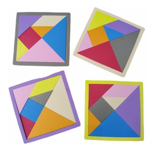 Brinquedo Pedagógico Tangram Educativo 4 Placas - 28 Pçs