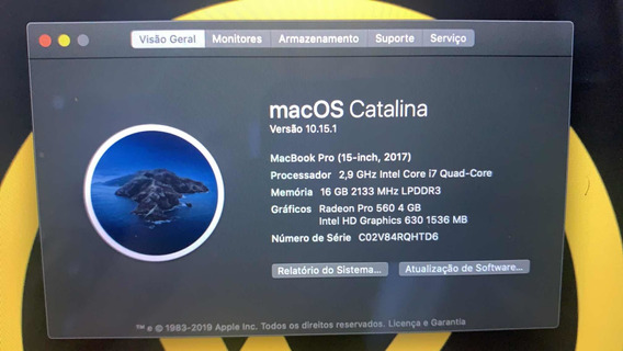 Macbook Pro 15 2017 Intel I7 2.9ghz 16gb 512 Usado