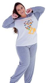 Pijama Inverno Longo Feminino Plus Size Roupa Dormir Plush