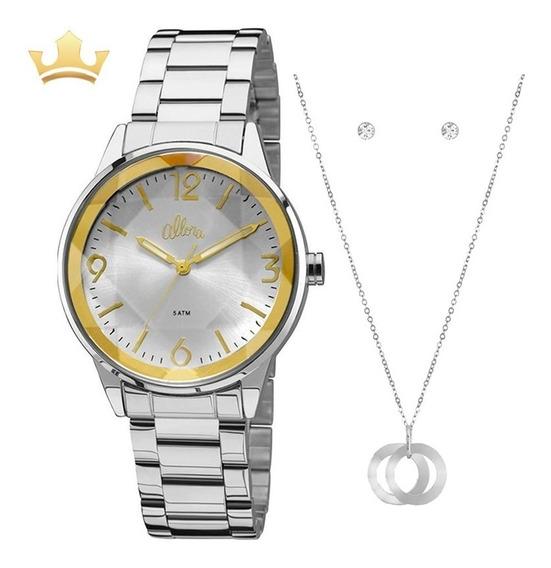 Relógio Allora Feminino Prata + Colar E Brincos Original Nf