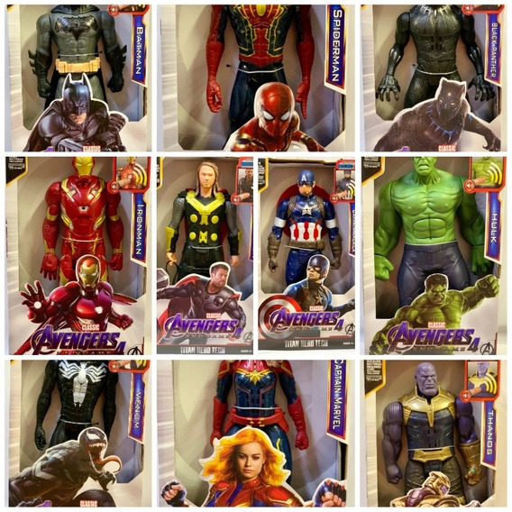 Kit 4 Bonecos Vingadores Marvel Avengers 30 Cm Liga Da Dc