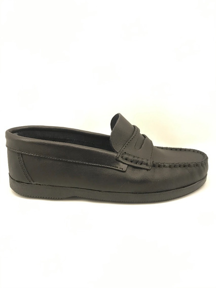 Zapato Colegial Mocasín Cuero Unisex Negro (art 1188)