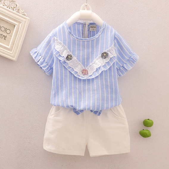 Conjunto Infantil Short E Blusa Importado Social