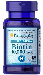 Biotina Ultra Mega 10000mcg Puritans Pride 100 Softgels