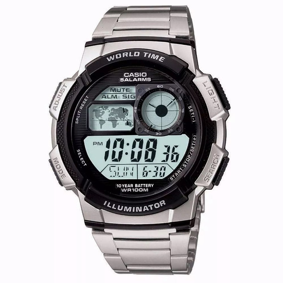 Relógio Metal Casio Ae-1000wd-1av Masculino Digital + Caixa
