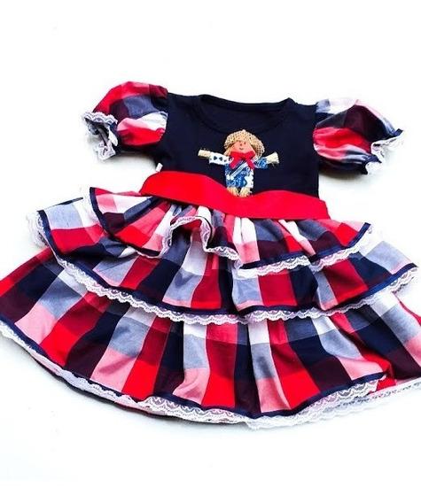 Vestido Festa Junina Infantil Xita Xadrez Quadrilha 123 Anos