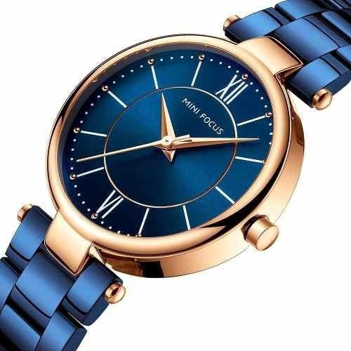 Reloj Para Dama Original Minifocus Elgante Moderno Azul 189l