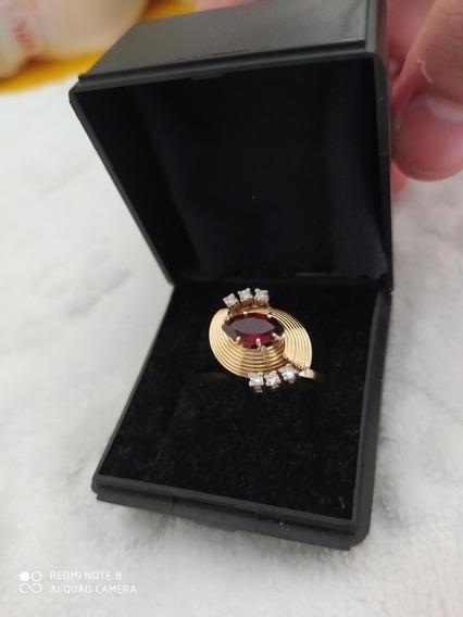 Anel Ouro Granada E Diamantes Raro
