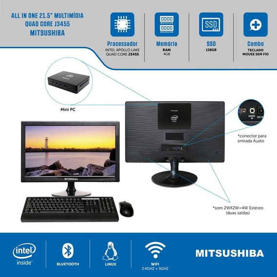 All In One 21.5 Celeron Quad Core J3455 4g Ssd128g Linux