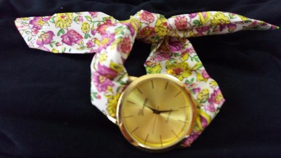 Promoção Lindo Relógio Hip Chic Tecido Floral 38