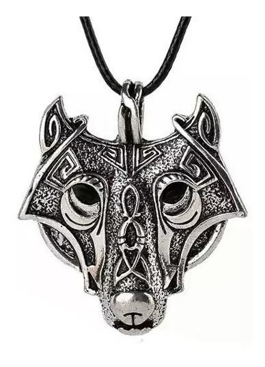 Cordão Nórdico Com Pingente Cabeça De Lobo Vikings Floki