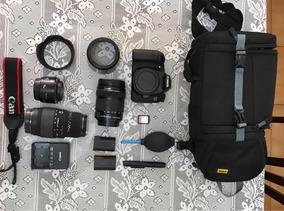 Kit Completo Canon 70d + 3 Lentes + Bolsa