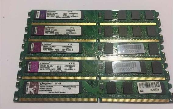 5 Memórias Kingston Ddr2 2gb 1.8v Com Garantia