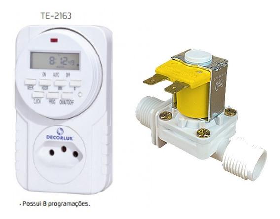 Controle Fluxo + Timer Digital Válvula Solenoide 3/4 D