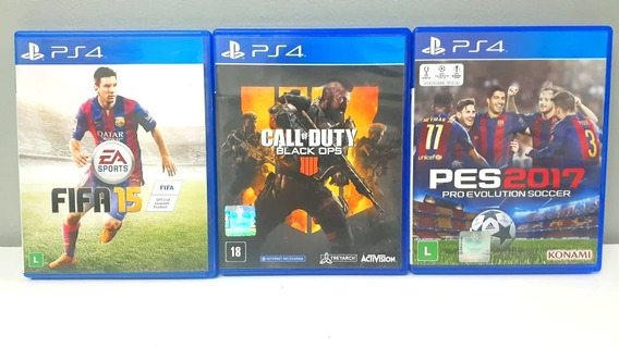 Jogos Ps4 (call Of Duty Black Ops 4 + Pes 2017 + Fifa 15)