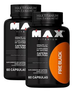 2x Cafeína 420mg Ultimate Fire Black 60cps - Max Titanium