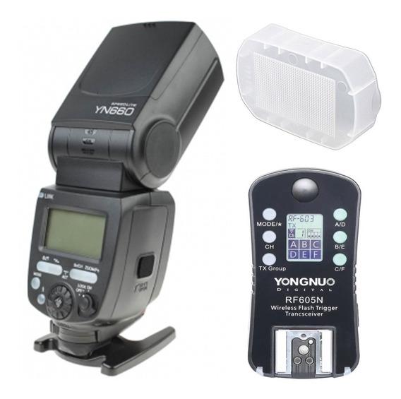 Flash Yongnuo Yn660 + Disparador Nikon Rf605n + Difusor 660