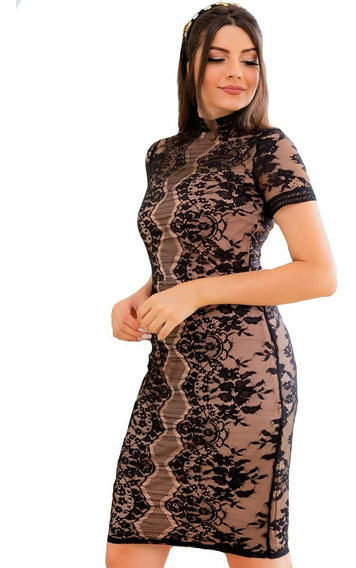 Vestido De Renda Midi Preto/nude Moda Evangelica Lancamento