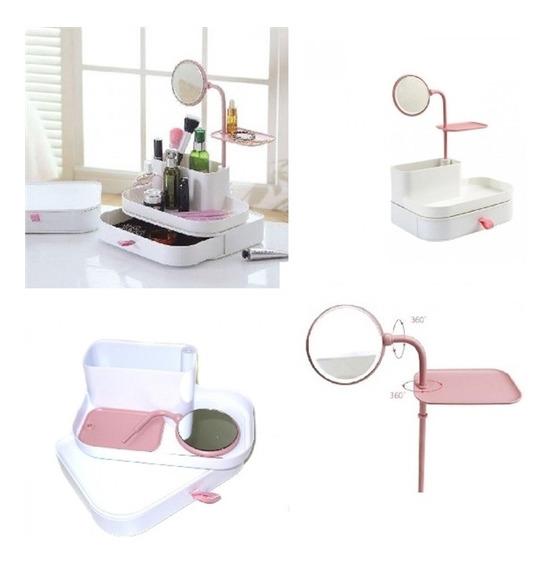 Porta Cosmetico Maquiagem Perfume Esmalte Com Espelho Gaveta