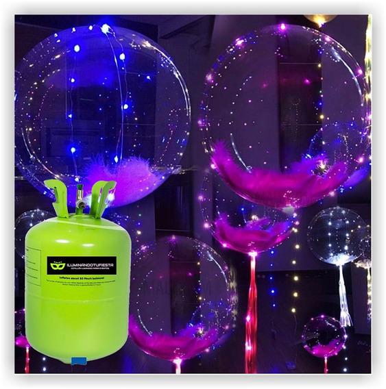 10 Globos Burbuja Con Led + Garrafa Gas Helio De 1ª Calidad