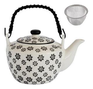 Tetera Con Infusor Te Cafe Filtro Acero Cerámica Porcelana Original Diseño Oval 720ml