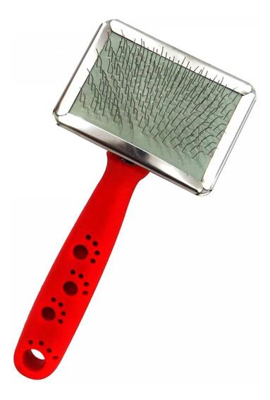 Escova Rasqueadeira Cerdas De Aço Pentear Cão Gato Vermelho