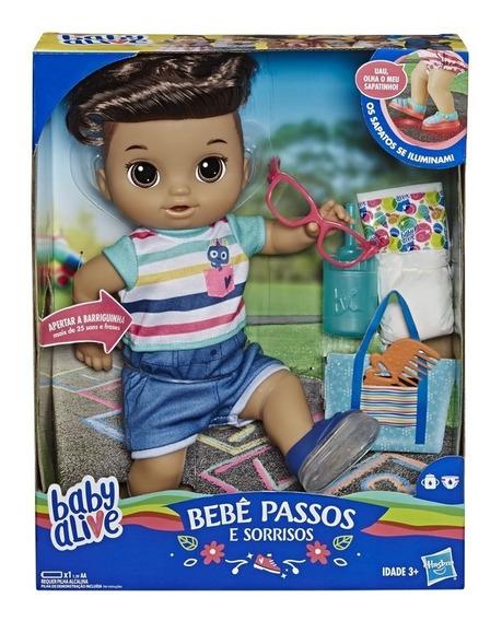 Nova Baby Alive Primeiros Passinhos Boy Moreno Hasbro E5245
