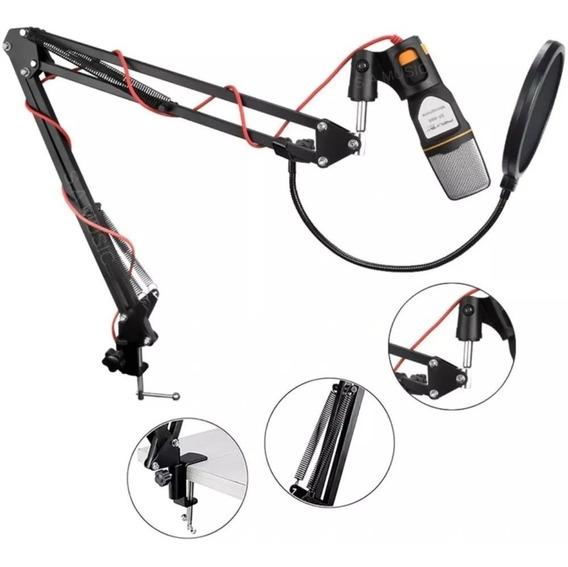 Novo Microfone Estúdio Q-888 + Pop Filter + Braço Articulado