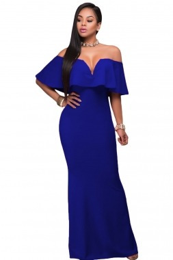 Vestido De Fiesta Campesino Azul Rey Envio Gratis