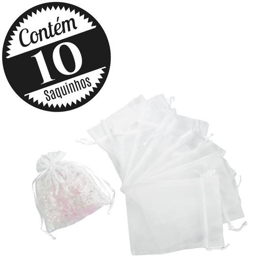 10 Saquinhos Organza 12x16 Médio Branco