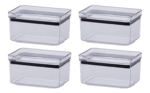 4 Potes Hermético Empilhável Para Condimento Lumini 580ml