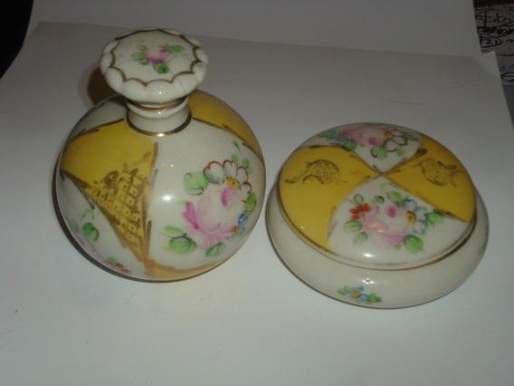 Antiguo Juego De 1 Perfumero Y 1 Despojador Loza Art Deco