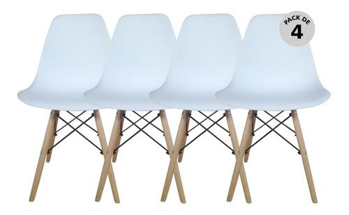 Silla Eames X4 Unidades - Blancas O Negras - Begônia