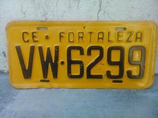 Antiga Placa Automotiva Amarela Ceará - Vw- 6299 Rara