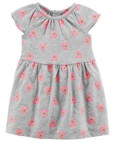 Vestido Carters Manga Curta Coração Cinza E Rosa - 118i232