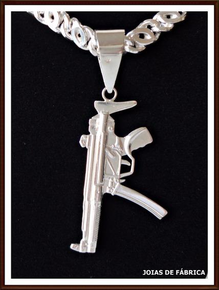 Pingente Arma Mp5 Em Prata De Lei.
