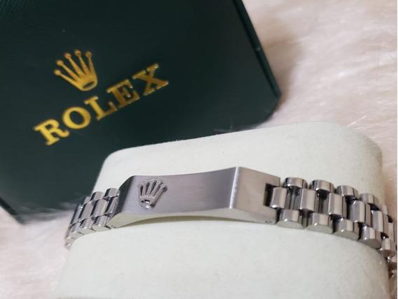 Pulseira Rolex Prata Dourado Aço Inoxidável + Caixa